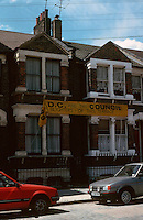 London Docklands:  Housing Terrace, Manchester Road, Isle of Dogs--Protest Sign.  Photo '90.