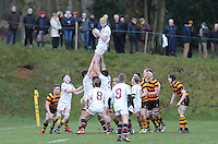 RBAI vs R S ARMAGH | Saturday 21st February 2015<br /> <br /> James McSorley secures this lineout ball during 2015 Ulster Schools Cup Quarter-Final between RBAI and Royal School Armagh at Osborne Park, Belfast, Northern Ireland.<br /> <br /> Picture credit: John Dickson / DICKSONDIGITAL