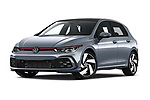 Stock pictures of low aggressive front three quarter view of 2021 Volkswagen Golf GTI 5 Door Hatchback Low Aggressive