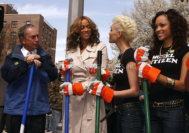WWW.ACEPIXS.COM . . . . .  ....April 9 2008, New York City....Model and TV Personality Tyra Banks and some contestants from her show 'America's next top model joined Mayor Michael Bloomberg to plant a tree on Manhattan's Ninth Avenue.....Please byline: AJ Sokalner - ACEPIXS.COM..... *** ***..Ace Pictures, Inc:  ..te: (646) 769 0430..e-mail: info@acepixs.com..web: http://www.acepixs.com