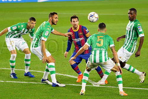 7th November 2020; Camp Nou, Barcelona, Catalonia, Spain; La Liga Football, Barcelona versus Real Betis;  Leo Messi is closed down by the Betis defenders
