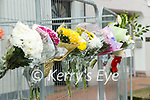 Flowers at the scene of a fatal accident at a building site in Ashe Street, Tralee on Saturday.
