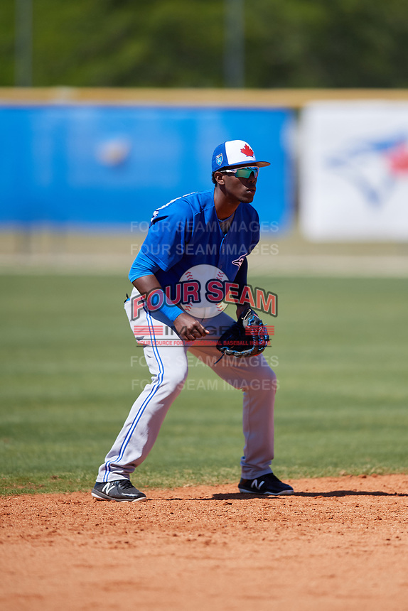 Toronto Blue Jays Luis De Los Santos (14) during a Minor League Spring Training Intrasquad game on March 14, 2018 at Englebert Complex in Dunedin, Florida.  (Mike Janes/Four Seam Images)