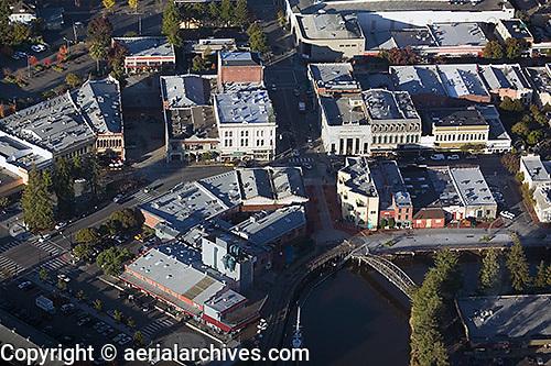 aerial photograph turning basin downtown Petaluma, Sonoma county, California