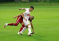 22nd August 2020; Saalfelden, Austria; Pres-season football friendly, Liverpool versus Stuttgart;   Mateo Klimowicz VfB Stuttgart clashes with Fabinho FC Liverpool