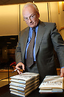 """Richard Clarke at a book signing for his novel """"Breakpoint"""" at a Barnes and Noble in New York City."""