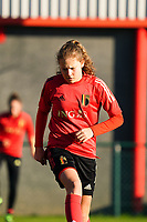 20200911 - TUBIZE , Belgium : Jarne Teulings pictured during the training session of the Belgian Women's National Team, Red Flames ahead of the Women's Euro Qualifier match against Switzerland, on the 28th of November 2020 at Proximus Basecamp. PHOTO: SEVIL OKTEM | SPORTPIX.BE
