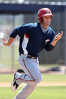 Washington Nationals minor league outfielder Bryce Harper #34 runs up the baseline during a spring training game against the Baltimore Orioles at the Spacecoast Stadium Training Complex on March 27, 2011 in Melbourne, Florida.  Photo By Mike Janes/Four Seam Images
