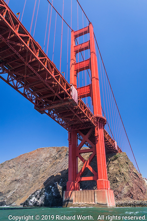 The Golden Gate Bridge viewed from below, looking toward the Marin, north, side.