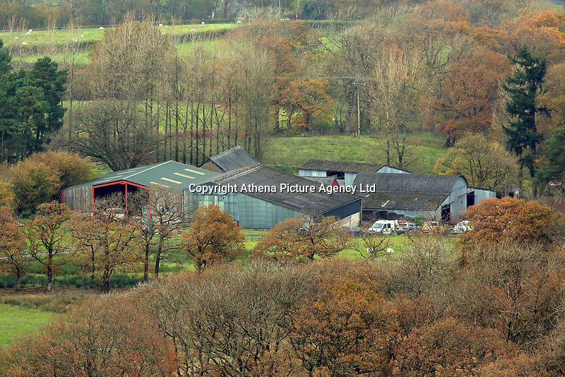 Pictured: The farm where the house that burned is located in Llangammarch Wells, Powys, Wales, UK. Tuesday 31 October 2017<br />Re: Investigations continue into a house fire in which a father and several of his children have died.<br />Three children aged 13, 12 and 10 escaped the farmhouse in Llangammarch Wells, Powys, in the early hours of Monday and raised the alarm.<br />Police said they could not identify the deceased or confirm numbers.<br />One of those missing has been named locally as David Cuthbertson.