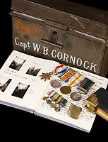 BNPS.co.uk (01202) 558833. <br /> Pic: Fellows/BNPS<br /> <br /> Pictured: Captain Walter Cornock's diaries, safety box and medal set. <br /> <br /> A stoic letter from a British World War One officer saying he would rather 'die a man's death than feel I had failed' has come to light 104 years on.<br /> <br /> Captain Walter Cornock, of the 12th Battalion, Gloucestershire Regiment, distinguished himself during the Third Battle of Ypres in 1917 and the 1918 German Spring Offensive.<br /> <br /> The correspondence to his father, also named Walter, reveals how he was driven by an enormous sense of duty and was prepared to sacrifice his life for his country.<br /> <br /> The 25 year old, from Gloucester, said this was preferable to taking 'cowardly advantage' of a situation and surviving, adding that people are 'unnecessarily afraid of death'.