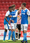 St Johnstone v Sunderland…15.07.17… McDiarmid Park… Pre-Season Friendly<br />Trilaist Romain Habron gets a well done from Murray Davidson at full time<br />Picture by Graeme Hart.<br />Copyright Perthshire Picture Agency<br />Tel: 01738 623350  Mobile: 07990 594431