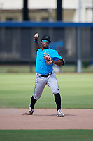 Miami Marlins shortstop Osiris Johnson (56) during practice before an Instructional League game against the Washington Nationals on September 26, 2019 at FITTEAM Ballpark of The Palm Beaches in Palm Beach, Florida.  (Mike Janes/Four Seam Images)