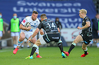 24th April 2021; Liberty Stadium, Swansea, Glamorgan, Wales; Rainbow Cup Rugby, Ospreys versus Cardiff Blues; Owen Lane of Cardiff Blues evades the attempted tackle by George North of Ospreys