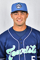 Asheville Tourists infielder Coco Montes (5) during media day at McCormick Field on April 2, 2019 in Asheville, North Carolina. (Tony Farlow/Four Seam Images)