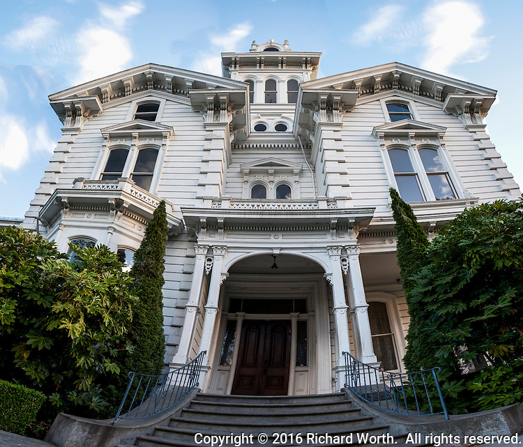 Multiple images have been combined in Photoshop to capture one entrance to the Meek Estate Mansion in Hayward, California.