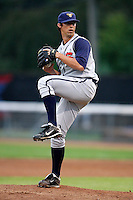 July 30, 2009:  Pitcher Teddy Fallon of the State College Spikes during a game at Russell Diethrick Park in Jamestown, NY.  State College is the NY-Penn League Short-Season Class-A affiliate of the Pittsburgh Pirates.  Photo By Mike Janes/Four Seam Images