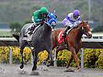 August 8, 2011.Creative Cause ridden by Rafael Bejarano pulling ahead of I'll Have Another in the stretch and wins the Best Pal Stakes at the Del Mar Thoroughbred Club, Del Mar, CA