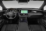 Stock photo of straight dashboard view of a 2019 Lexus LS 500h 4 Door Sedan