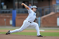 Asheville Tourists starting pitcher Matt Flemer #18 delivers a pitch during game one of a double header against the Greensboro Grasshoppers on July 2, 2013 in Asheville, North Carolina.  The Tourists won the game 5-3. (Tony Farlow/Four Seam Images)