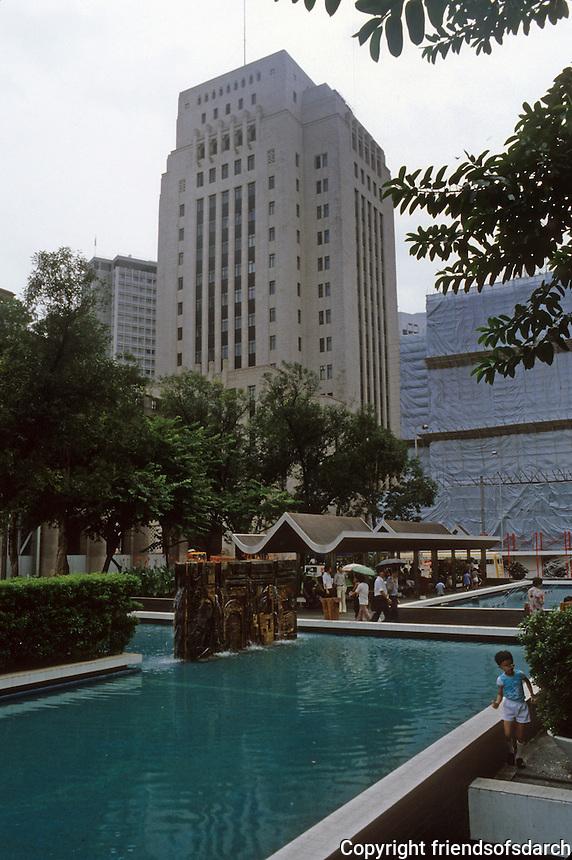 Hong Kong: Plaza, Bank of China (?), landscaping. Photo '82.