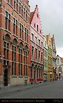 Street Scene: 17th century Buildings, Academiestraat near Poortersloge, Bruges, Brugge, Belgium