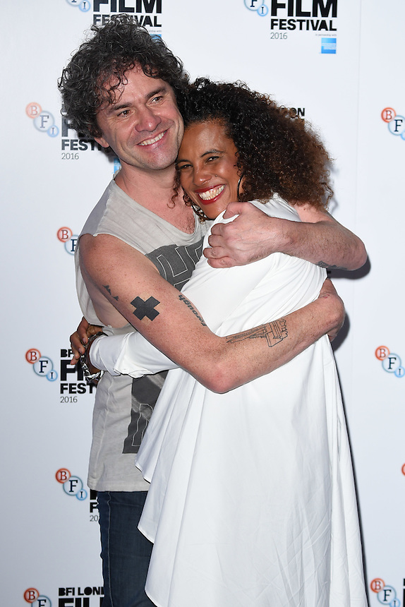 """director, Mark Cousins and Neneh Cherry<br /> at the London Film Festival 2016 premiere of """"Stockholm My Love"""" at the Odeon Leicester Square, London.<br /> <br /> <br /> ©Ash Knotek  D3175  11/10/2016"""
