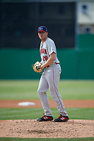 Auburn Doubledays pitcher Leif Strom (29) during a NY-Penn League game against the Batavia Muckdogs on June 19, 2019 at Dwyer Stadium in Batavia, New York.  Batavia defeated Auburn 5-4 in eleven innings in the completion of a game originally started on June 15th that was postponed due to inclement weather.  (Mike Janes/Four Seam Images)