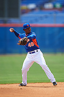GCL Mets shortstop Oliver Pascual (48) throws to first during a game against the GCL Marlins on August 12, 2016 at St. Lucie Sports Complex in St. Lucie, Florida.  GCL Marlins defeated GCL Mets 8-1.  (Mike Janes/Four Seam Images)
