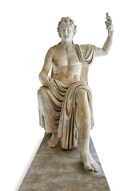 Roman colossal seated staue of Augustus Caesar, white marble, late first century B.C, inv 6040, Naples National Archaeological Museum, white background