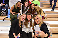 New York, NY - Thursday February 02, 2017: NWSL players, Lynn Williams, Rose Lavelle,Stephanie McCaffrey, Samantha Mewis, Alyssa Naeher, Kristie Mewis during a joint NWSL and A+E Networks press conference at the A+E headquarters.