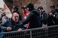 race winner Tiesj Benoot (BEL/Lotto-Soudal) escorted to the podium (via the crowd)<br /> <br /> 12th Strade Bianche 2018<br /> Siena > Siena: 184km (ITALY)