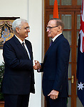 21 January 2013, New Delhi, India: Australian Foreign Minister, The Hon. Bob Carr meets India Minister for External Affairs , Salman  Khurshid at Hyderabad House in New Delhi during his visit to India.   Picture by Graham Crouch/DFAT