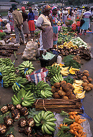 AJ2486, market, Dominica, Caribbean, Roseau, Caribbean Islands, Local black women selling fresh produce at a street market in downtown Roseau the capital of the island of Dominica.