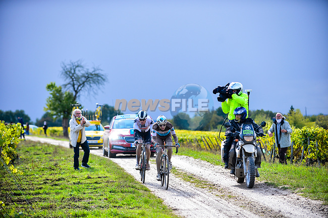 Benoit Cosnefroy (FRA) AG2R-La Mondiale and Casper Pedersen (DEN) Team Sunweb out front on the gravel roads through the vineyards during Paris-Tours 2020, running 213km from Chartres to Tours, France. 11th October 2020.<br /> Picture: ASO/Gautier Demouveaux | Cyclefile<br /> All photos usage must carry mandatory copyright credit (© Cyclefile | ASO/Gautier Demouveaux)
