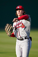 Jesse Franklin V (33) of the Rome Braves before a game against the Greenville Drive on Friday, August 6, 2021, at Fluor Field at the West End in Greenville, South Carolina. (Tom Priddy/Four Seam Images)