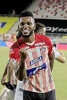 BARRANQUILLA-COLOMBIA, 20-09-2020: Miguel Angel Borja de Atletico Junior, celebra la victoria sobre Rionegro Aguilas Doradas, durante partido entre Atletico Junior y Rionegro Aguilas Doradas, de la fecha 9 por la Liga BetPlay DIMAYOR I 2020, jugado en el estadio Romelio Martinez de la ciudad de Barranquilla. / Miguel Angel Borja of Atletico Junior, celebrates the victory over Rionegro Aguilas Doradas, during a match between Atletico Junior and Rionegro Aguilas Doradas of the 9th date for the BetPlay DIMAYOR I Leguaje 2020 played at the Romelio Martinez Stadium in Barranquilla city. / Photo: VizzorImage / Jairo Cassiani / Cont.