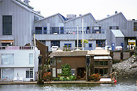 Vancouver: Granville Island--Emily Carr School & Houseboats from EXPO Site (zoom)