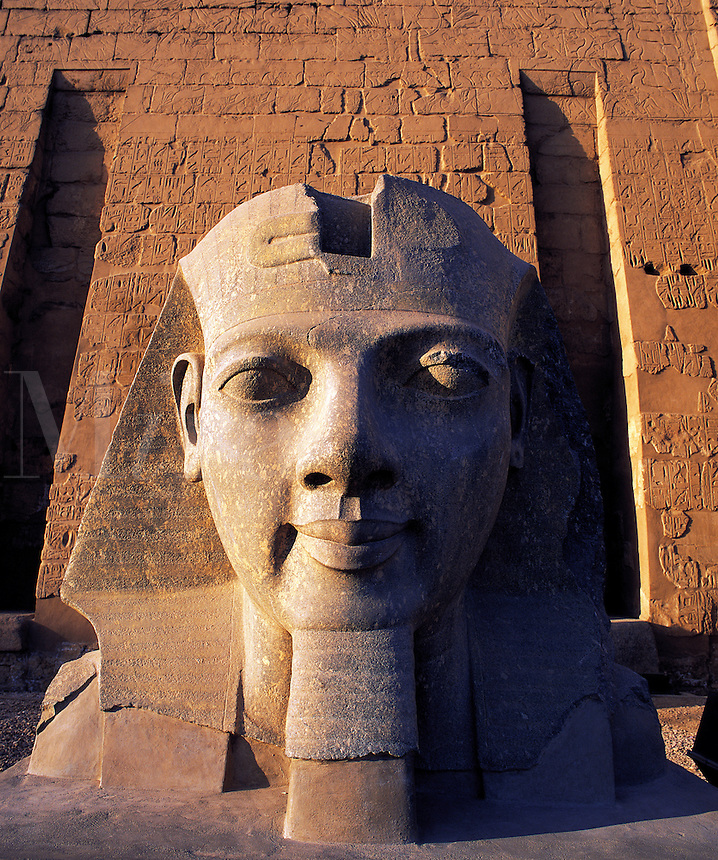 Carved head of Rameses II at the entrance to Luxor temple, Luxor, Egyp