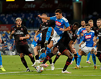 Eljif Elmas of Napoli  during the  italian serie a soccer match,  SSC Napoli - AC Milan       at  the San  Paolo   stadium in Naples  Italy , July 12, 2020
