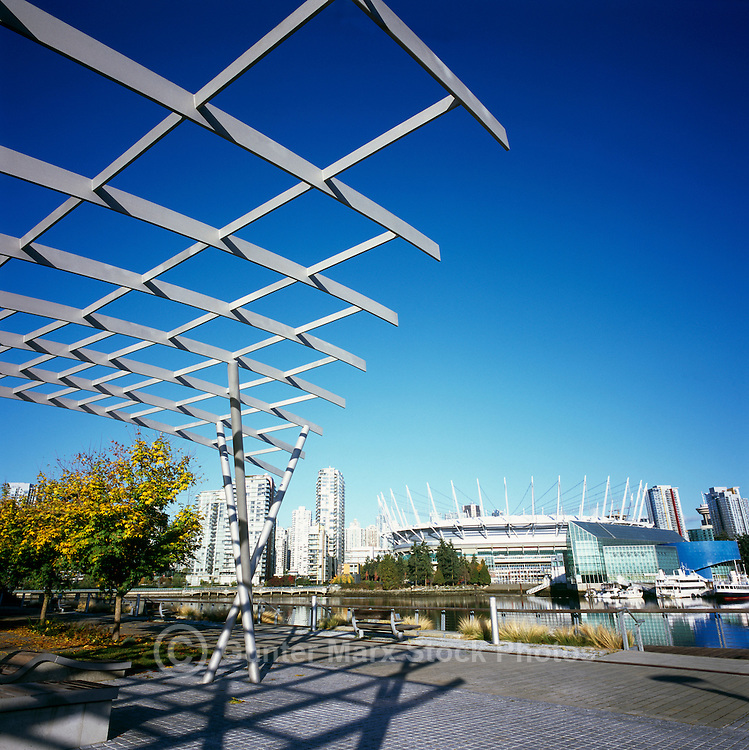 B.C. Place (new Roof) & Vancouver Sky Line at False Creek in the City of Vancouver BC Canada.October 2011
