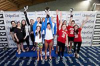 Serie A2 Femmine<br /> Nuoto Livorno 1a classificata (al centro)<br /> Team Insubrika  (a sinistra)<br /> Bolzano Nuoto (a destra)<br /> Coppa Caduti di Brema<br /> Finale Nazionale Campionato a Squadre UnipolSai<br /> Riccione Italy 14-18/04/2015<br /> Photo Giorgio Scala/Deepbluemedia/Insidefoto
