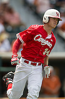 Houston Cougars outfielder Kyle Survance (34) runs to first base during the NCAA baseball game against the Texas Longhorns on June 6, 2014 at UFCU Disch–Falk Field in Austin, Texas. The Longhorns defeated the Cougars 4-2 in Game 1 of the NCAA Super Regional. (Andrew Woolley/Four Seam Images)
