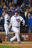 Chicago Cubs Kyle Schwarber (12) bats in the eighth inning during Game 3 of the Major League Baseball World Series against the Cleveland Indians on October 28, 2016 at Wrigley Field in Chicago, Illinois.  (Mike Janes/Four Seam Images)