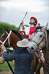 15 APR -Jockey Ramon Dominguez gives thanks after he rode Larry Jones trained Harve de Grace to victory in the 47th running of the Apple Blossom Handicap at Oaklawn Park in Hot Springs, Arkansas.