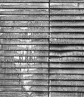 """""""Air Louvers"""" <br /> Gibson Greenhouses, Maryville, Tennessee<br /> <br /> These louvers acquired numerous coats of paint through the years which made them look beautifully textured. The texture looks strong in a black and white photograph."""