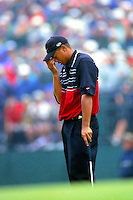 Tiger Woods reaction to missing a put on the 17th green of the final round of the 1999 US Open at Pinnehurst II.