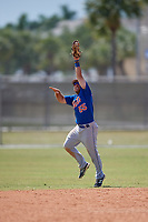New York Mets Nick Sergakis (55) jumps to field a batted ball during a minor league Spring Training game against the St. Louis Cardinals on March 28, 2017 at the Roger Dean Stadium Complex in Jupiter, Florida.  (Mike Janes/Four Seam Images)