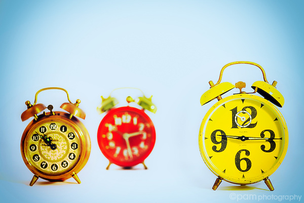 Three vintage alarm clocks