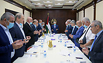 Palestinian president Mahmoud Abbas chairs Executive Committee meeting, in the West Bank city of Ramallah on August 31, 2021. Photo by Thaer Ganaim